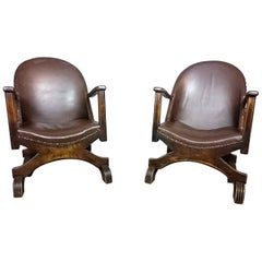 A Pair Art Deco Leather Armchairs