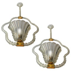 Pair of Art Deco Chandeliers by Ercole Barovier, Murano, 1940