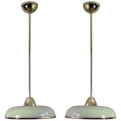 Pair of Art Deco German Bauhaus Art Deco Cream Opaline Glass and Brass Pendants