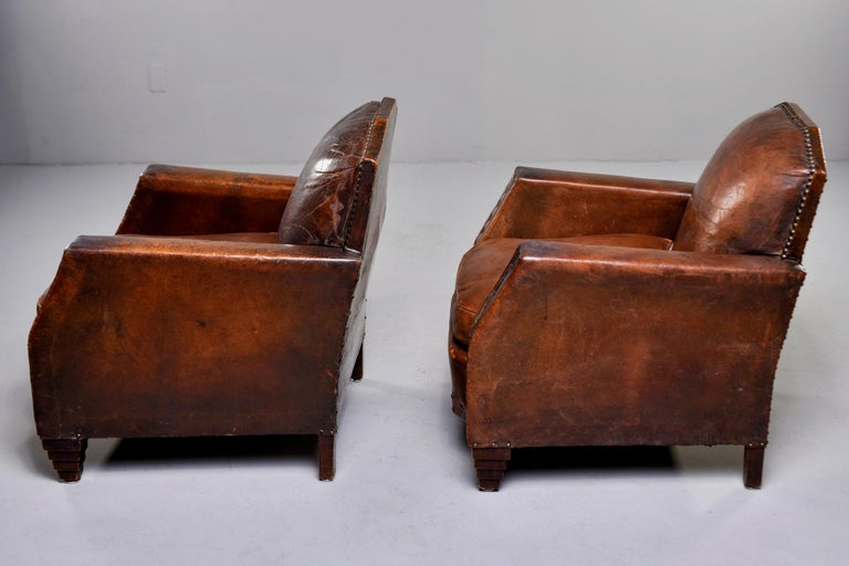 Pair Art Deco Original Leather Chairs with Nail Heads 4
