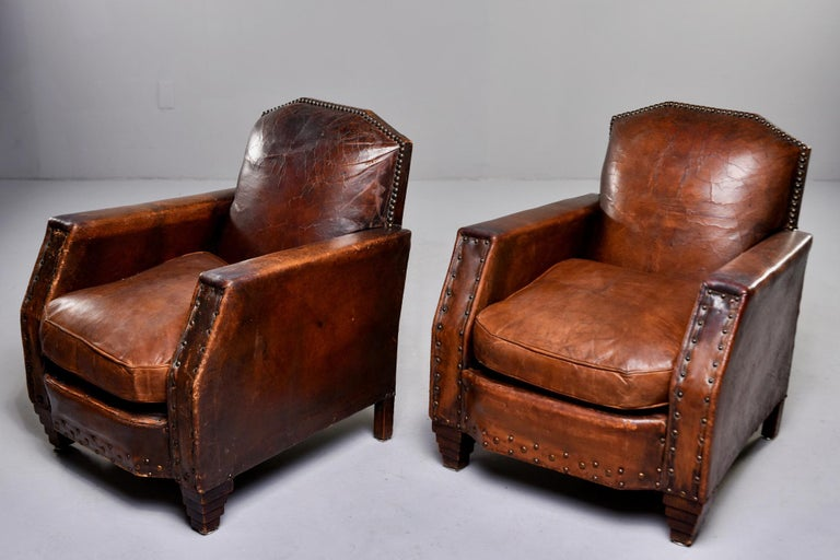 Pair Art Deco Original Leather Chairs with Nail Heads 5