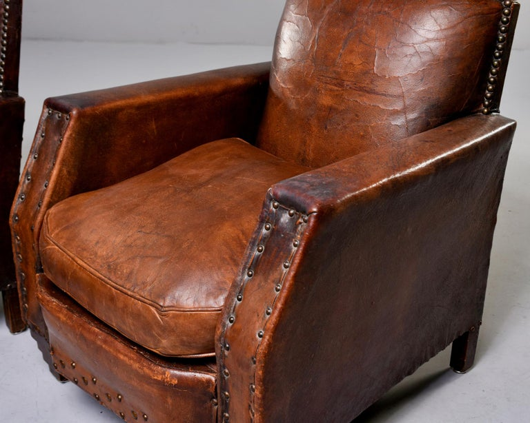 Pair Art Deco Original Leather Chairs with Nail Heads 6
