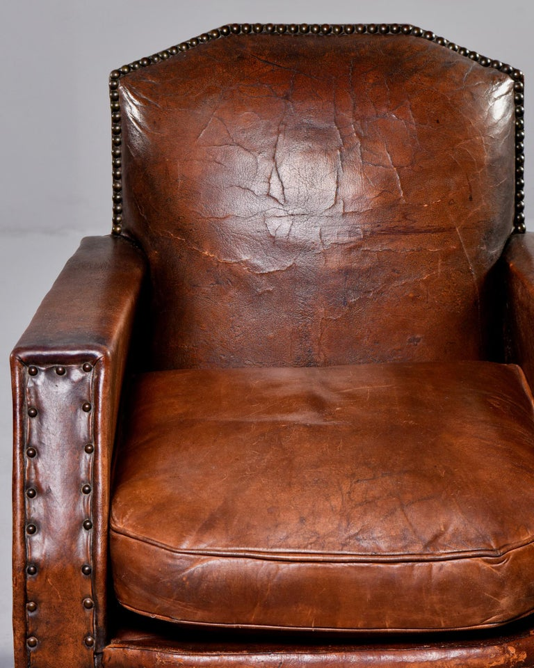 Pair Art Deco Original Leather Chairs with Nail Heads In Good Condition In Troy, MI