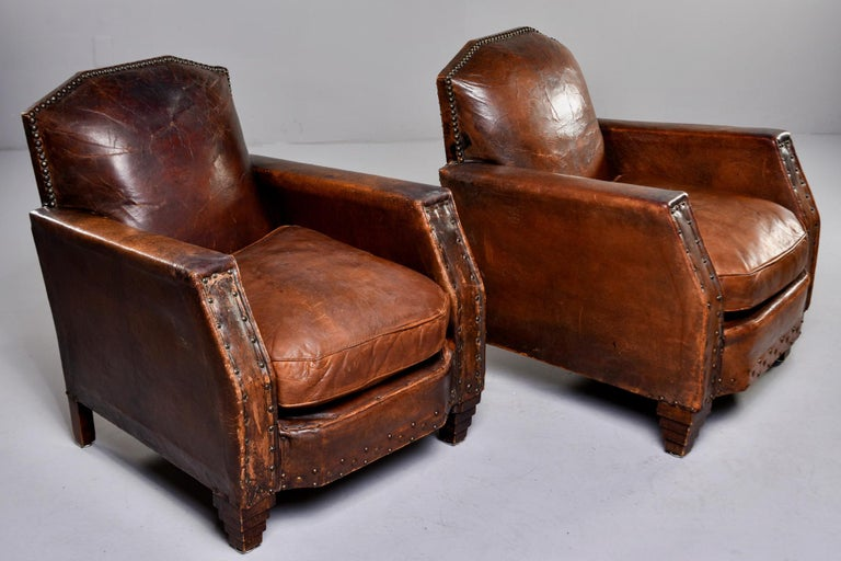 20th Century Pair Art Deco Original Leather Chairs with Nail Heads