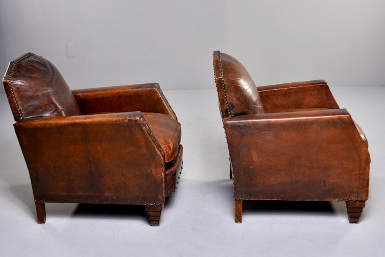 Brass Pair Art Deco Original Leather Chairs with Nail Heads