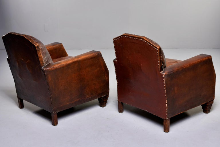 Pair Art Deco Original Leather Chairs with Nail Heads 1