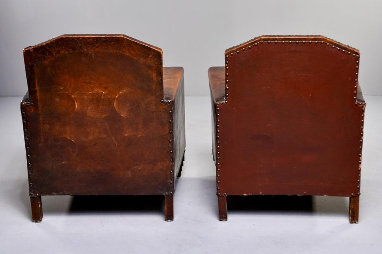 Pair Art Deco Original Leather Chairs with Nail Heads 2