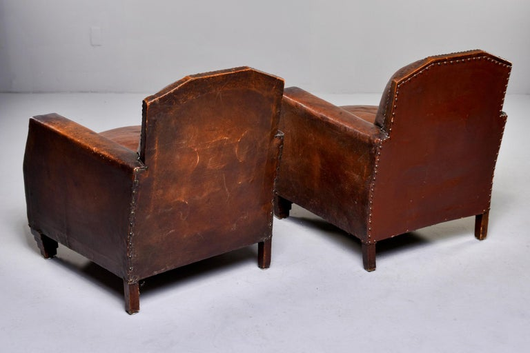Pair Art Deco Original Leather Chairs with Nail Heads 3
