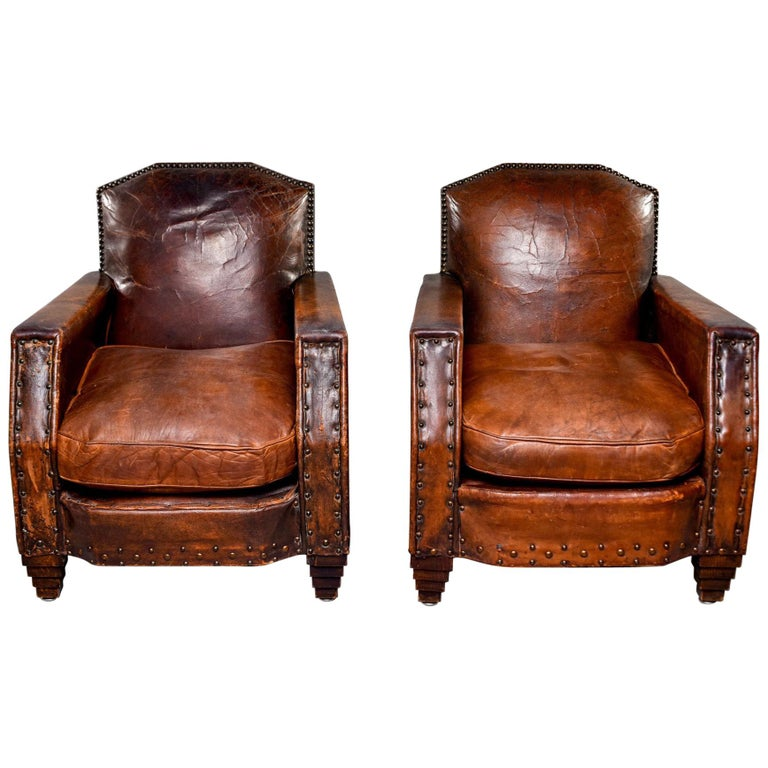 Pair Art Deco Original Leather Chairs with Nail Heads