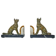 Pair of Art Deco patinated Bronze Dog Bookends, France, circa 1930