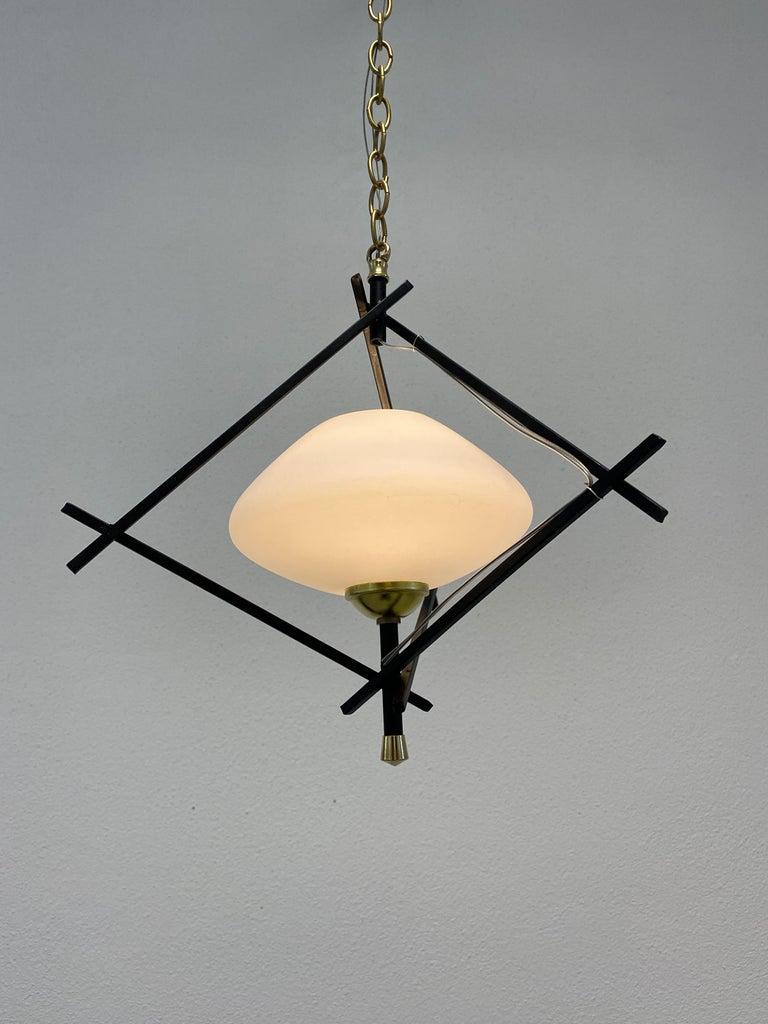 Pair Art Deco Pendant Lamps Brass Opal Glass, circa 1935 For Sale 3