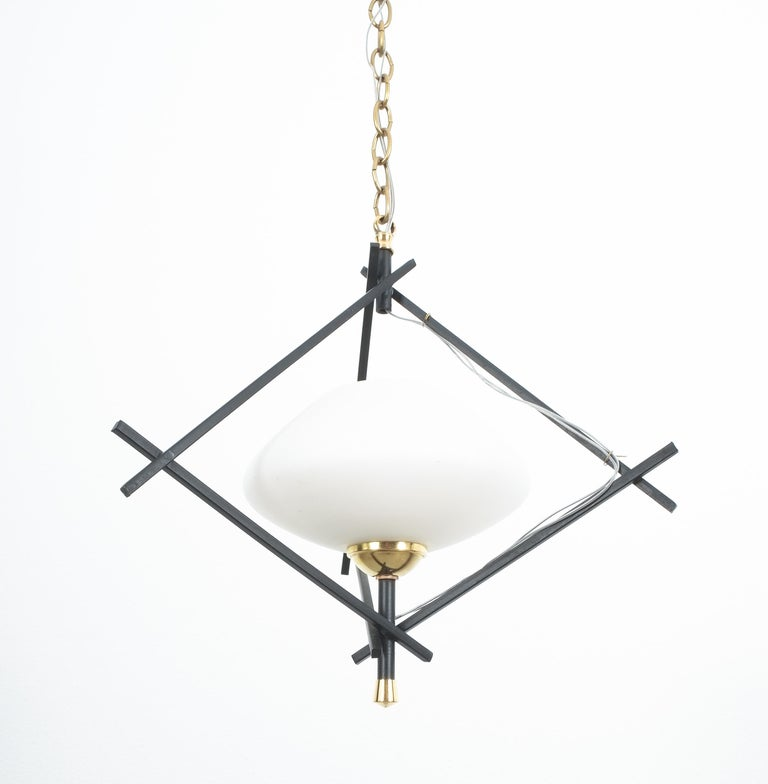 French Pair Art Deco Pendant Lamps Brass Opal Glass, circa 1935 For Sale