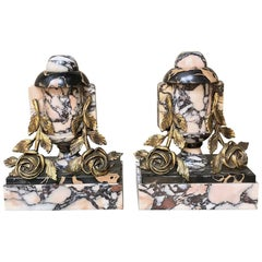Pair Art Deco Period French Bronze and Marble Cassolettes or Bookends