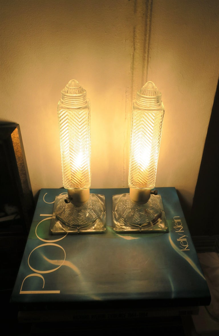 Art Deco Period Glass Table or Bedside Lamps, Pair In Good Condition For Sale In New York, NY
