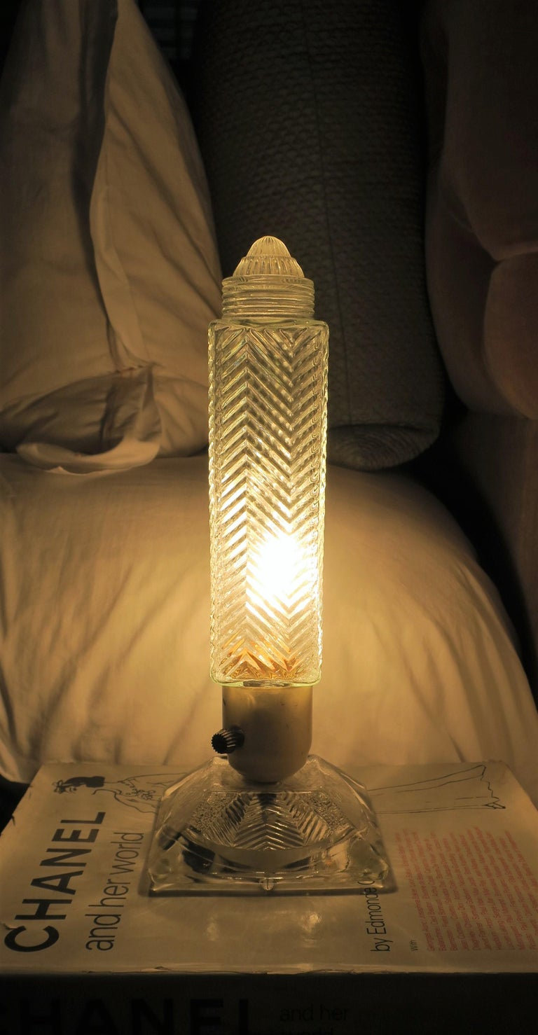 Art Deco Period Glass Table or Bedside Lamps, Pair For Sale 2