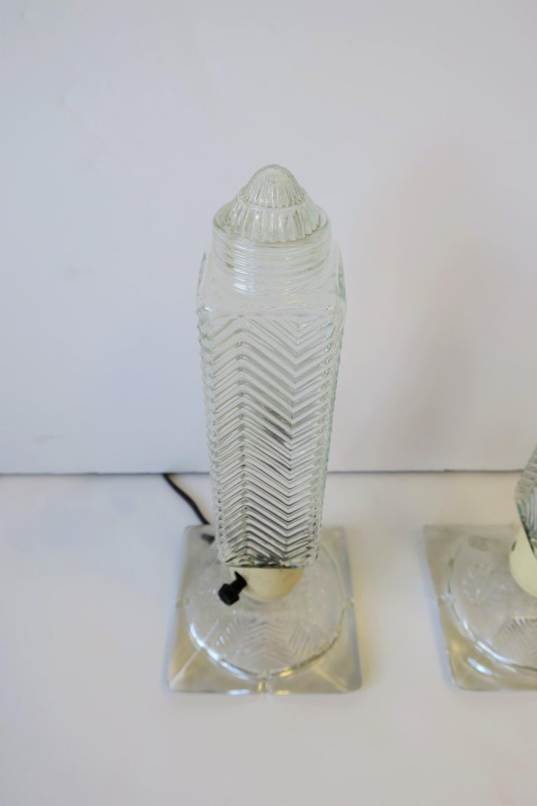 Art Deco Period Glass Table or Bedside Lamps, Pair For Sale 3