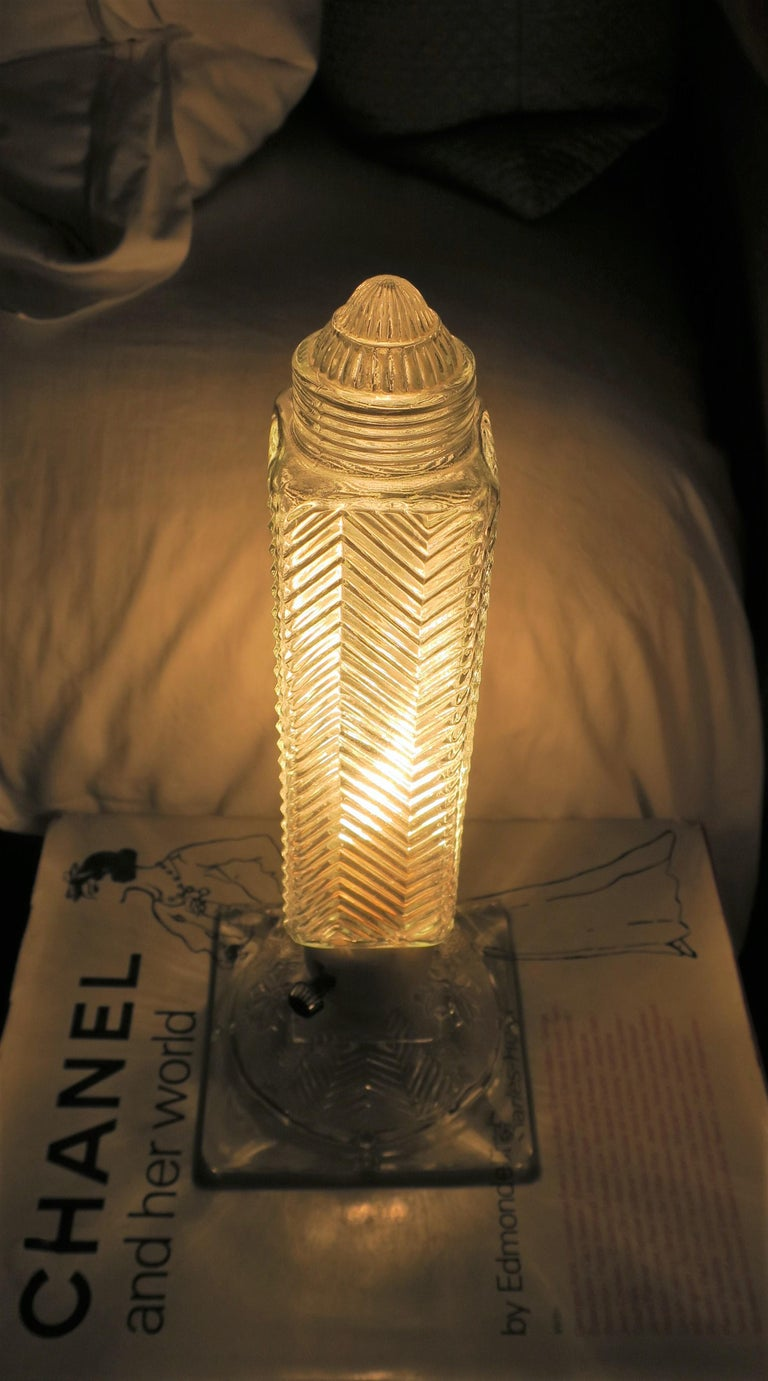 Art Deco Period Glass Table or Bedside Lamps, Pair For Sale 4