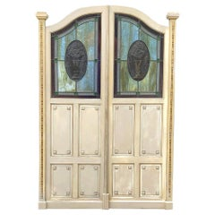 Pair of Art Deco Period Salon Doors with Stained Glass