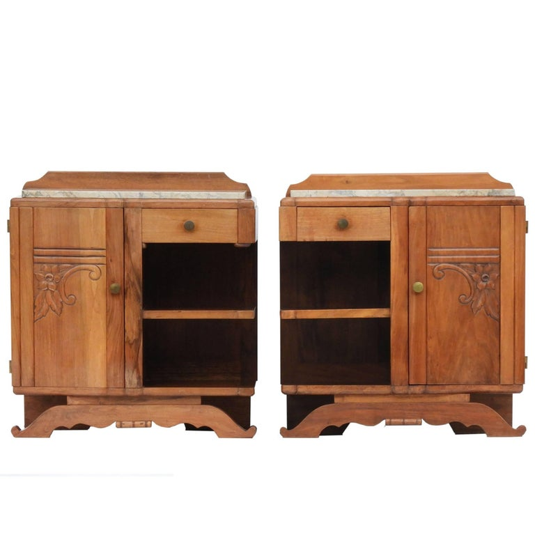 Pair of Art Deco Side Cabinets Bedside Tables Nightstands Book Shelves French