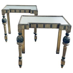 Pair of Art Deco Style Italian Painted and Mirror Inset Console Tables