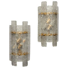 Pair of Art Deco Style Sconces with Murano Glass Panels and Brass Fittings