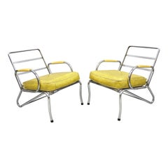 Pair Art Deco Tubular Chrome Yellow Vinyl Club Lounge Armchairs Attr. Lloyd Mfg