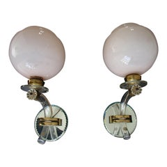 Pair of Art Deco Wall Lights Pale Rose Glass Shade Crystal and Mirror Hold
