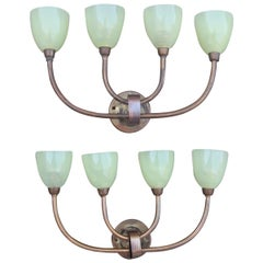 Pair of Art Deco Wall Sconces Brass Glass Murano Green 1930s Tommaso Buzzi Style