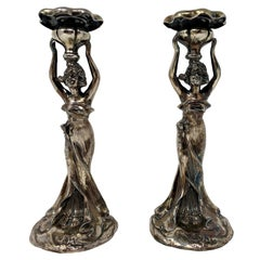 "Pair of ""Art Nouveau"" Silver Plated Candlesticks"