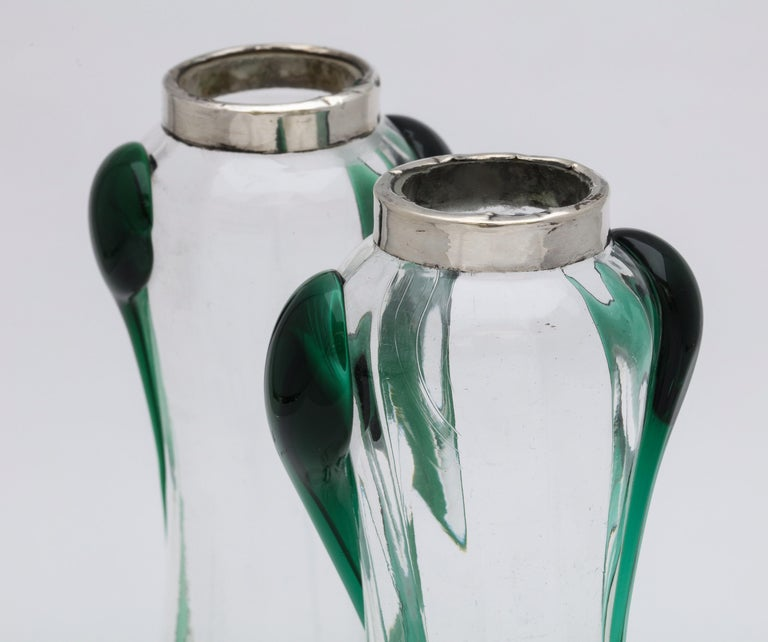 Art Nouveau Sterling Silver-Mounted Blown Green and Clear Glass Bud Vases, Pair For Sale 9