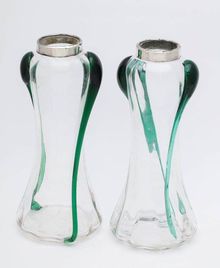 Art Nouveau Sterling Silver-Mounted Blown Green and Clear Glass Bud Vases, Pair For Sale 12