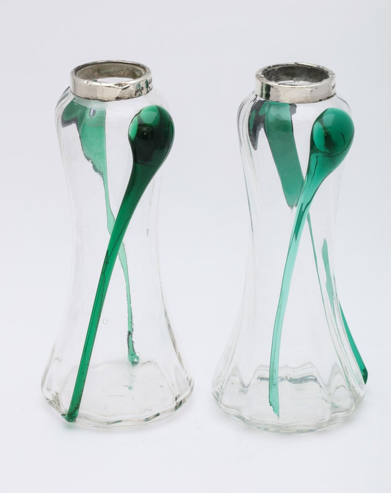 Art Nouveau Sterling Silver-Mounted Blown Green and Clear Glass Bud Vases, Pair For Sale 13