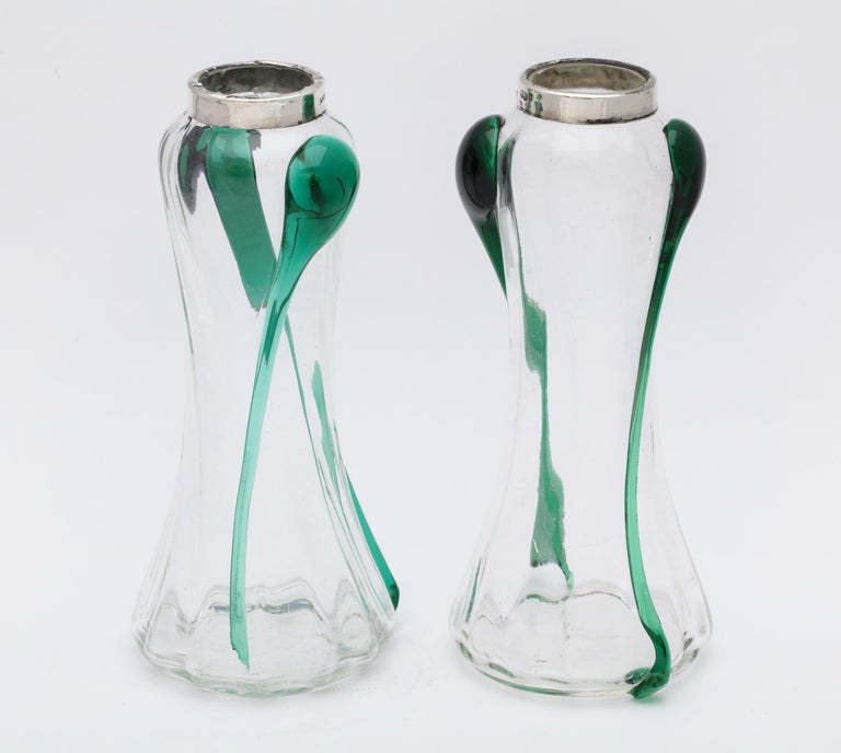 English Art Nouveau Sterling Silver-Mounted Blown Green and Clear Glass Bud Vases, Pair For Sale