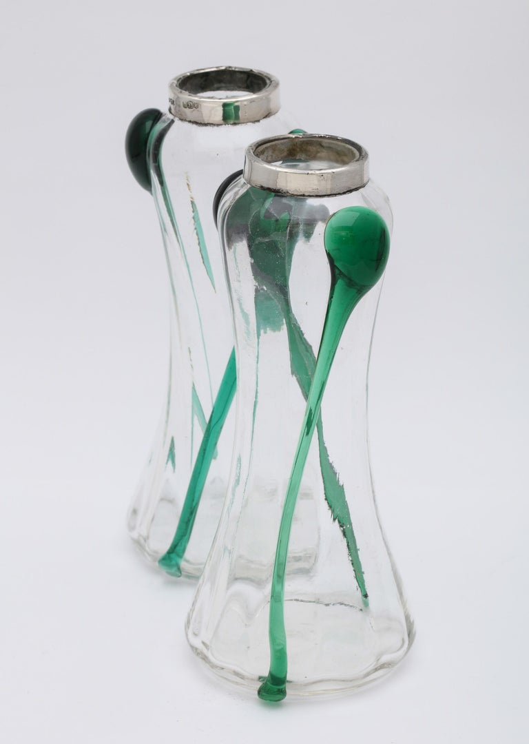 Art Nouveau Sterling Silver-Mounted Blown Green and Clear Glass Bud Vases, Pair For Sale 1