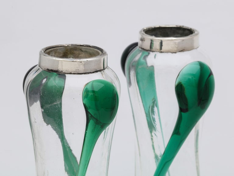 Art Nouveau Sterling Silver-Mounted Blown Green and Clear Glass Bud Vases, Pair For Sale 3