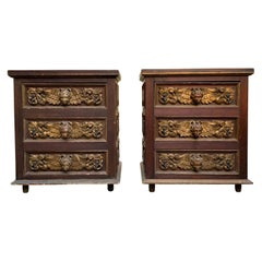 Pair of Artes De Mexico 1960s Handcrafted Nightstand Cabinets