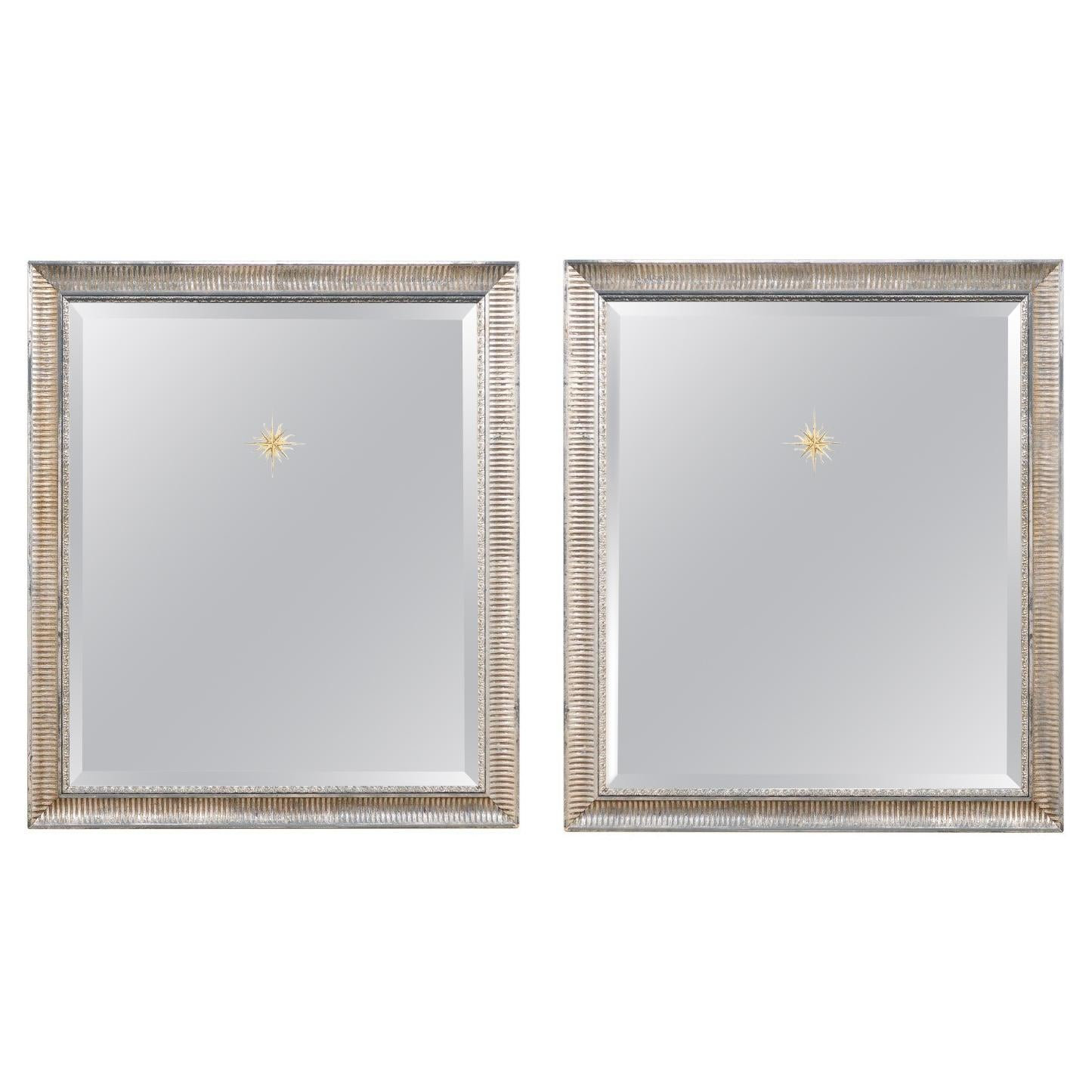 Pair Artisan Crafted Mirrors with Sunburst Accents & Fluted Frames