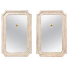 Artisan-Made Tall Wood Mirrors with Verre Églomisé Sunburst Center Accent, Pair