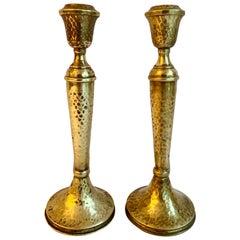 Pair of Arts & Crafts Hammered Brass Candlesticks