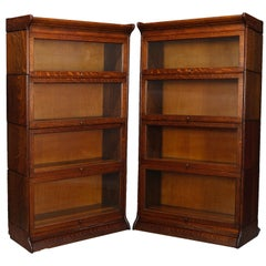 Pair Arts & Crafts Mission Oak Barrister 4-Stack Bookcase, Matching, circa 1920
