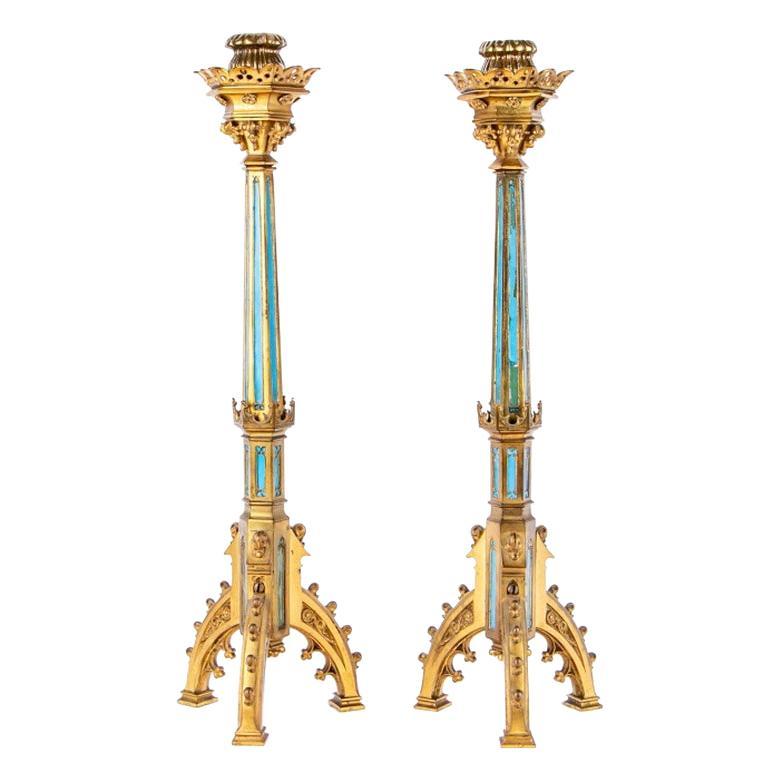 Pair of Arts & Crafts Period Neo-Gothic Style Gilt Bronze Candlesticks