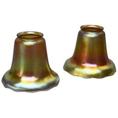Pair of Arts & Crafts Steuben Gold Aurene Iridized Art Glass Bell Shades