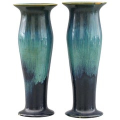 Pair of Ashby Potters Guild Art Nouveau Mottled Blue Glazed Vases