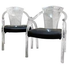 Pair Asian Inspired Lucite Chairs Navy Vinyl Charles Hollis Jones Modern Regency