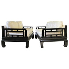 Pair of Asian Modern Ebonized Sofas