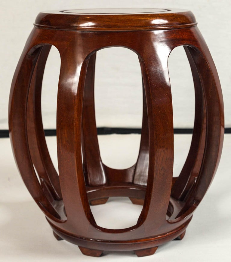 Pair of Asian Rosewood Garden Stools, Mid-20th Century In Good Condition For Sale In Chappaqua, NY