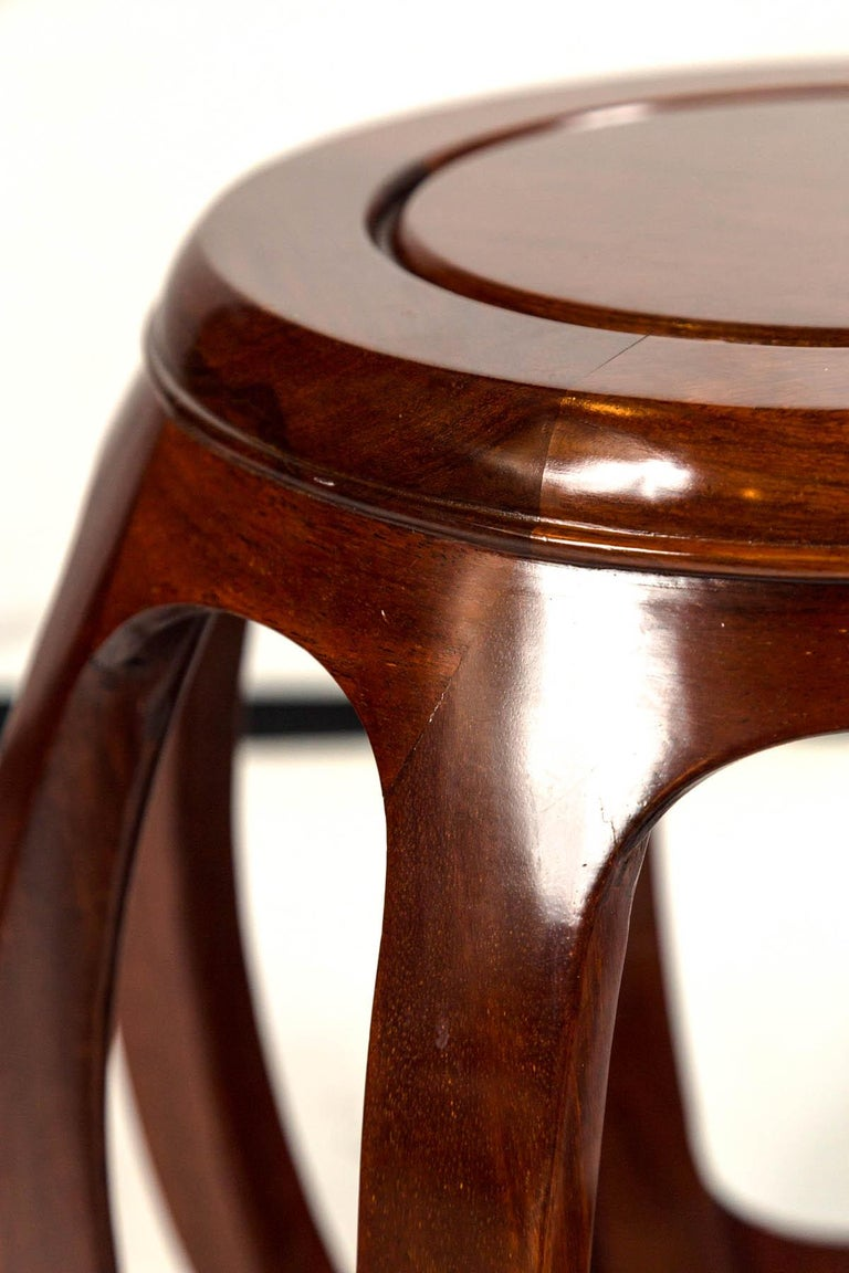 Pair of Asian Rosewood Garden Stools, Mid-20th Century For Sale 2