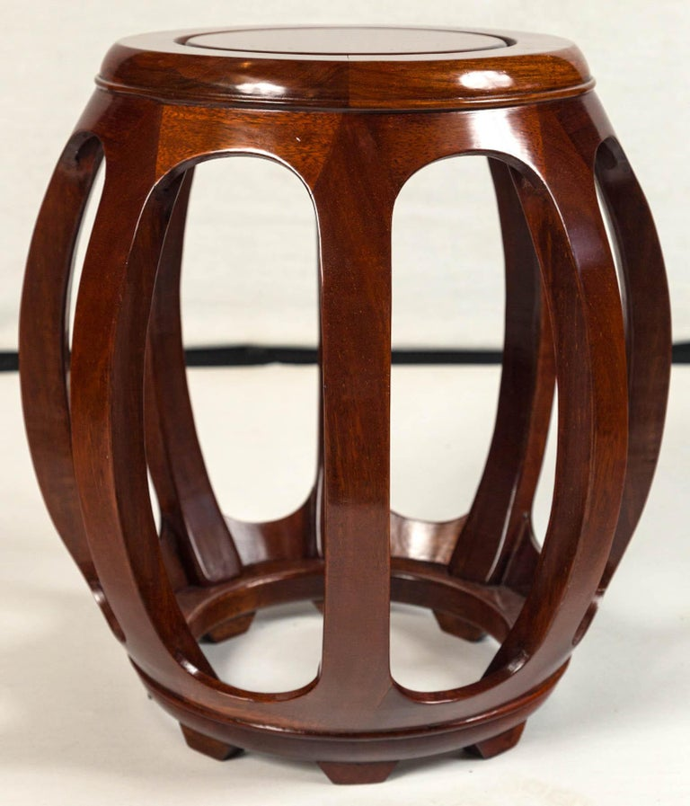 Pair of Asian Rosewood Garden Stools, Mid-20th Century For Sale 6
