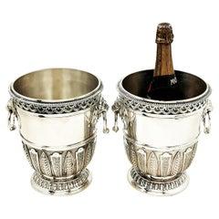 Pair Asprey & Garrard Sterling Silver Champagne Wine Coolers / Ice Buckets 1999