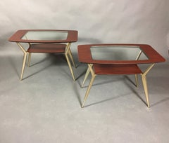 Pair Atomic Metal and Glass Side Tables, USA 1970